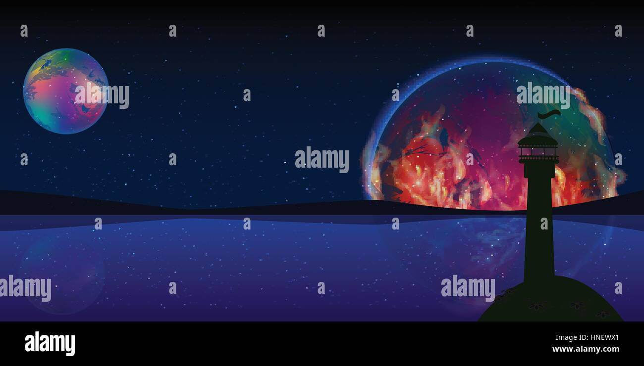 Fire Planet Signal Space Lighthouse Illustration Use