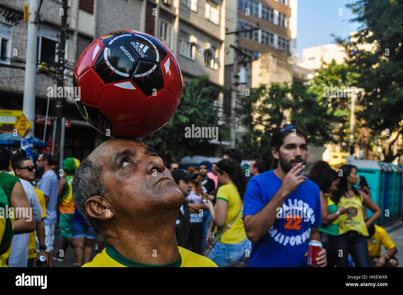 Spectators awaiting a Brazil game during the 2014 World Cup Stock Photo
