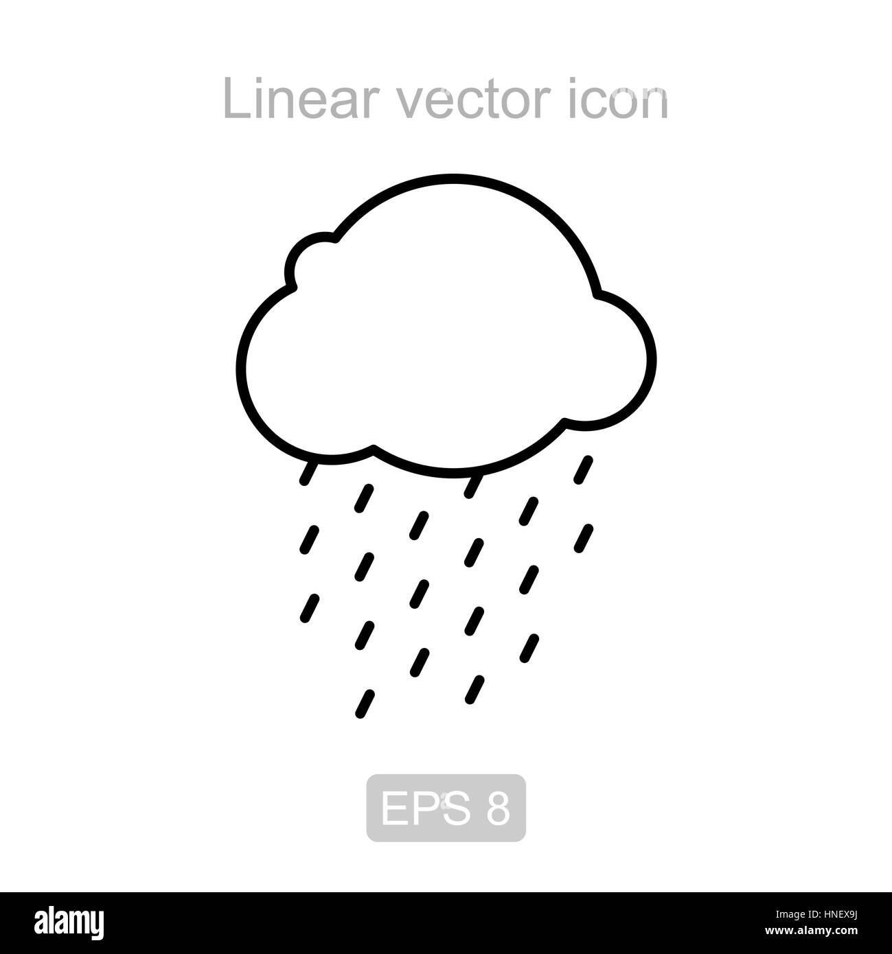 Icon of the rainy cloud in a linear style - Stock Image
