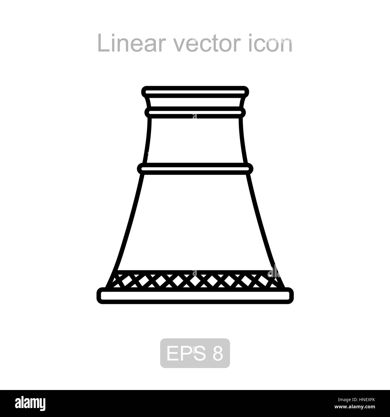 Pipe nuclear power plant. Linear vector icon. - Stock Image