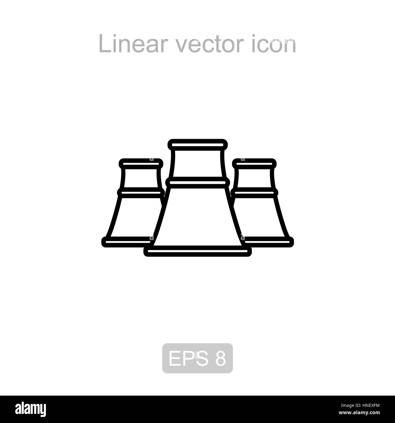 Nuclear power station. Linear vector icon. - Stock Image