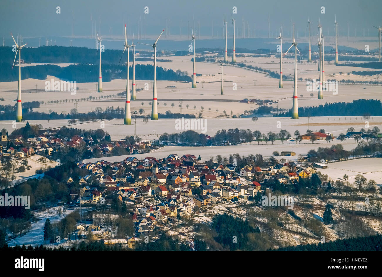Windpark Buren, wind turbines, view of Rüthen, Sauerland, North Rhine-Westphalia, Germany - Stock Image
