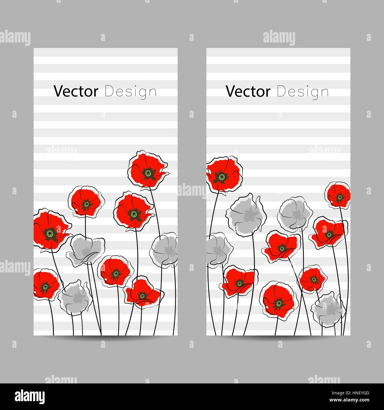 Set of vertical banners. Abstract red and gray poppy flowers on striped background. - Stock Vector