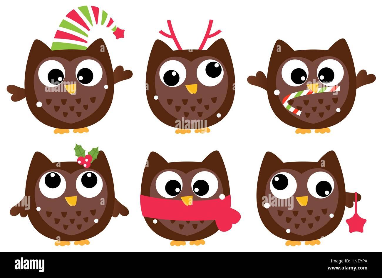 Christmas Owl.Funny Christmas Owls Cartoon Illustration Stock Photo