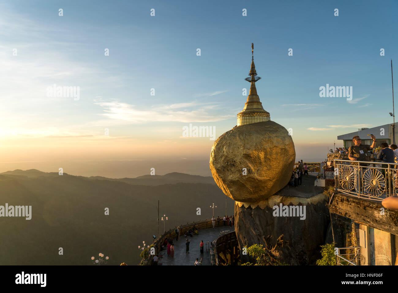 Golden Rock Kyaiktiyo Pagoda, Kyaikto, Myanmar - Stock Image