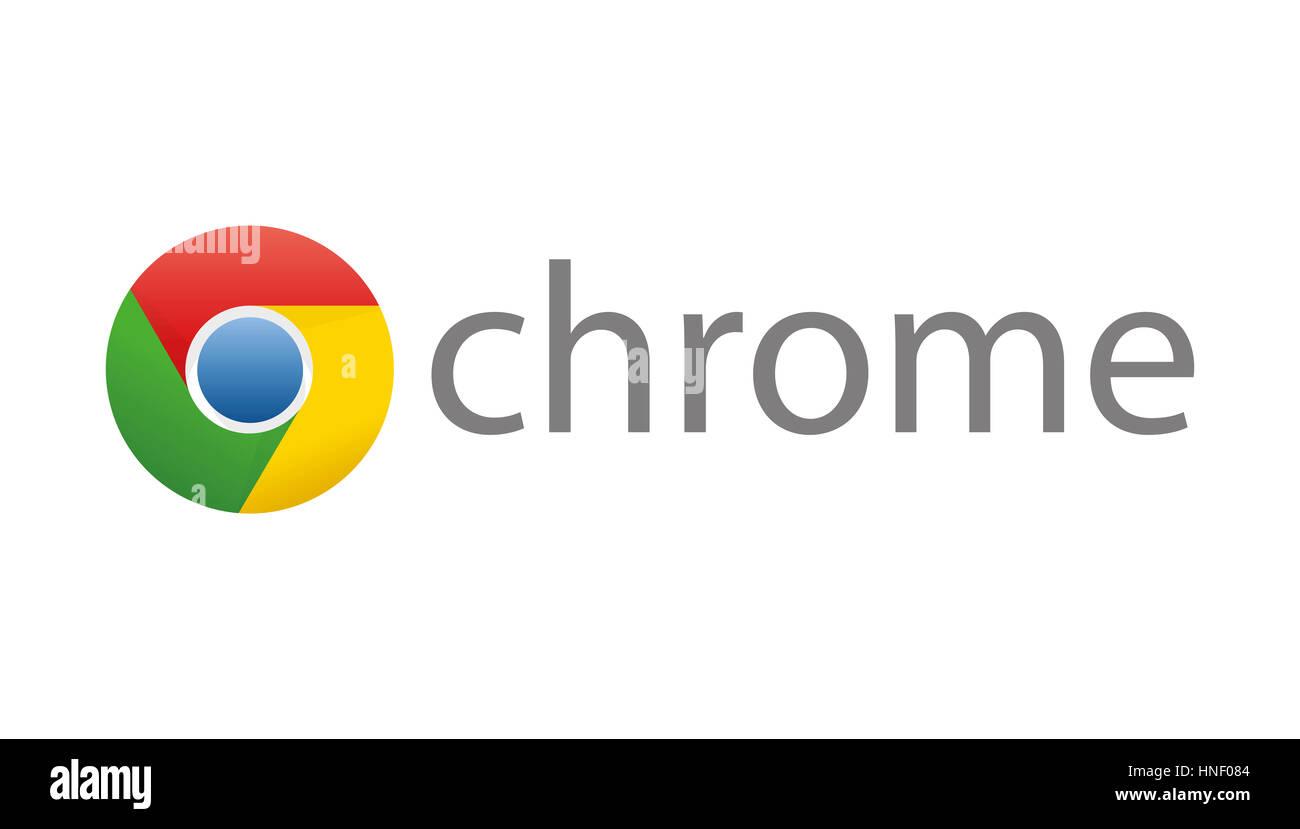 Google Chrome Logo, Internet browser corporate identity, logo, cutout - Stock Image
