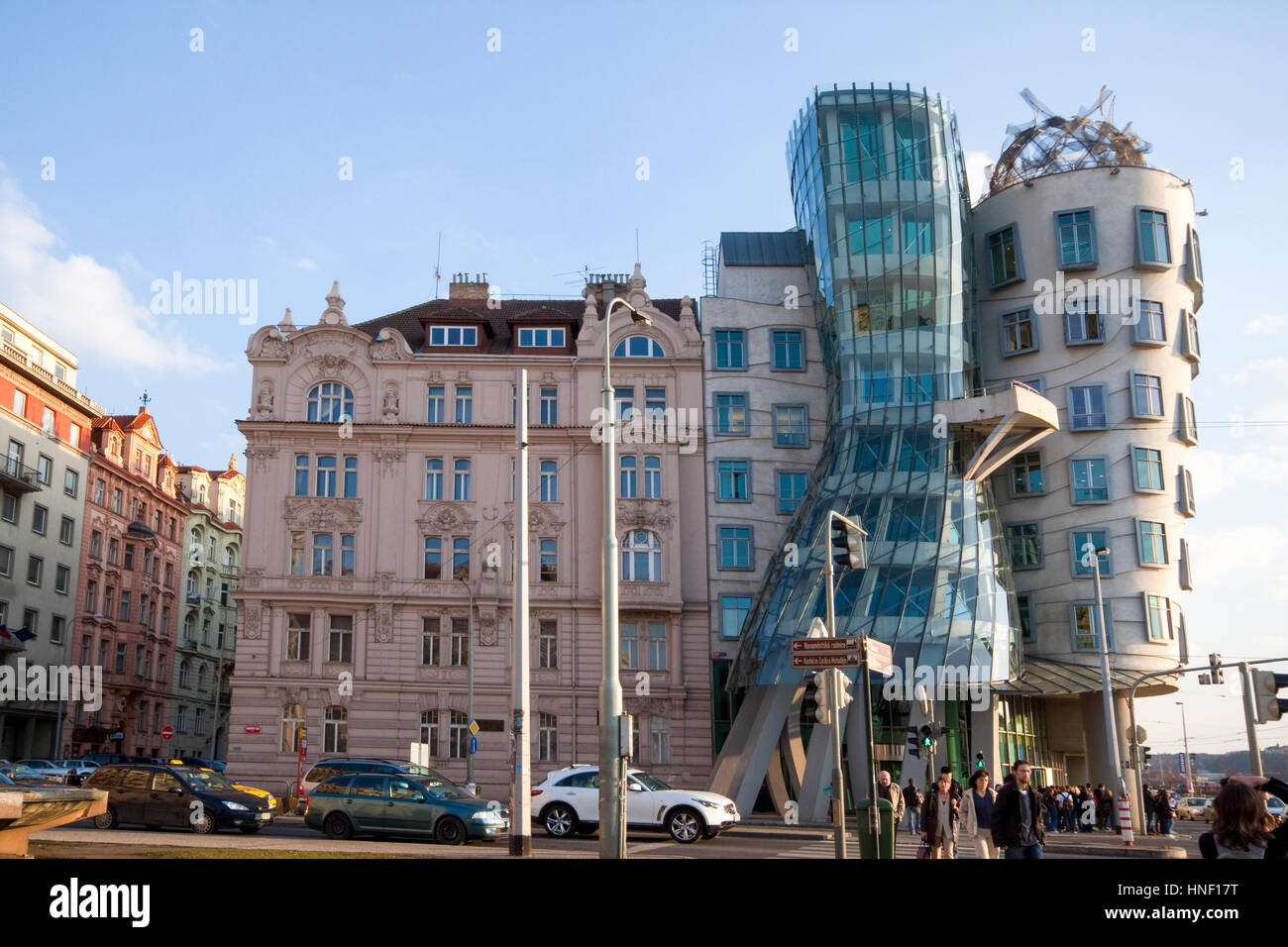 Czech Republic, Prague The Rasin Building AKA Ginger and Fred building, architect Frank Gehry - Stock Image