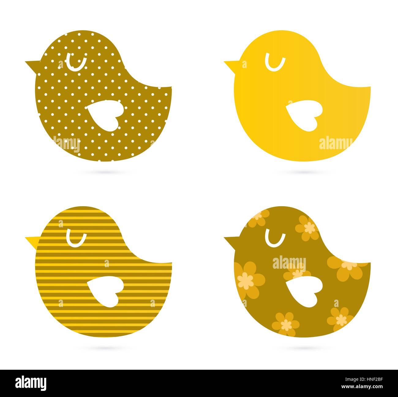 Bird patterned collection : Kids illustration Stock Photo