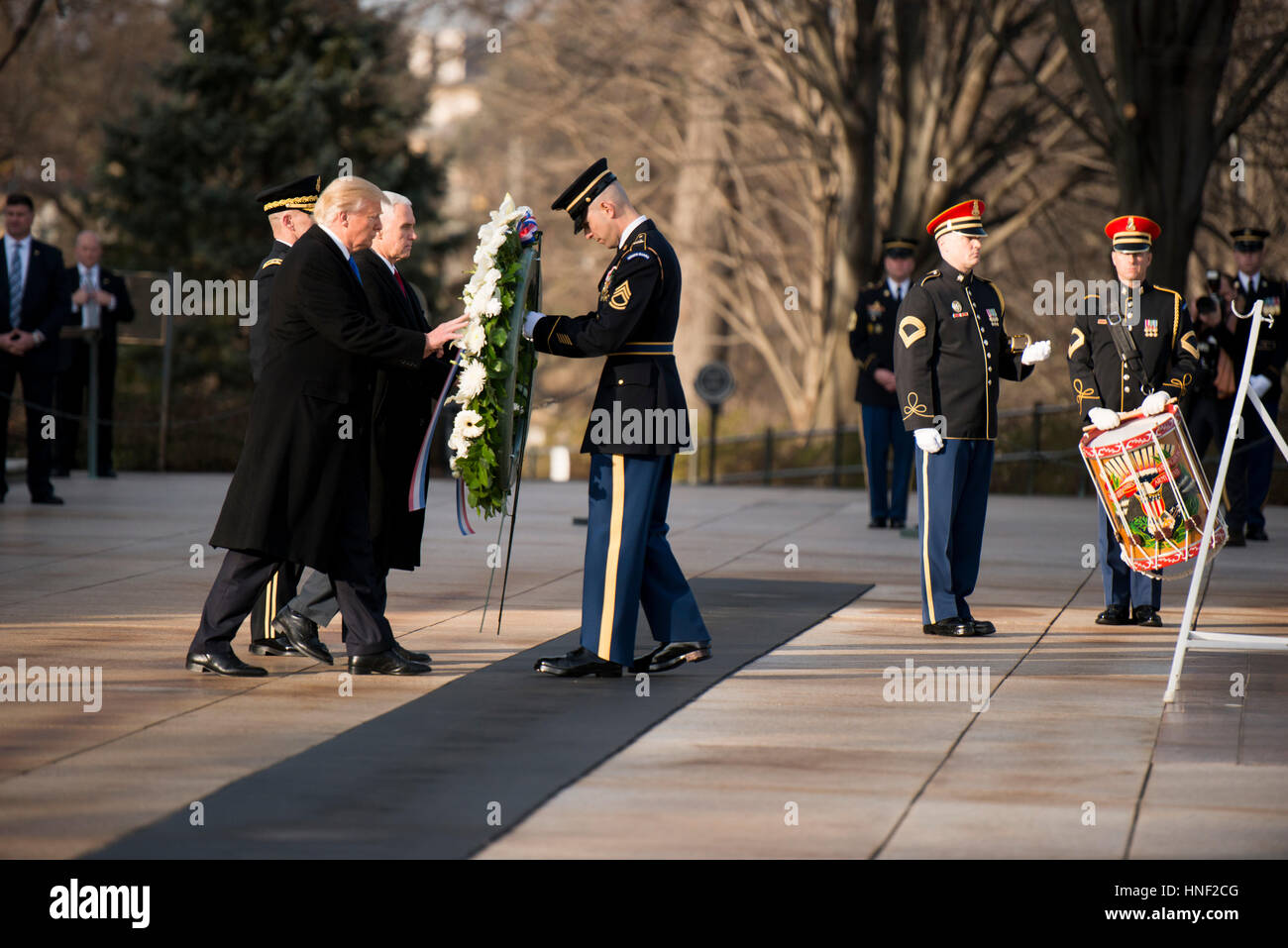 U.S. President-elect Donald Trump and Vice President-elect Mike Pence place a wreath at the Arlington National Cemetery - Stock Image