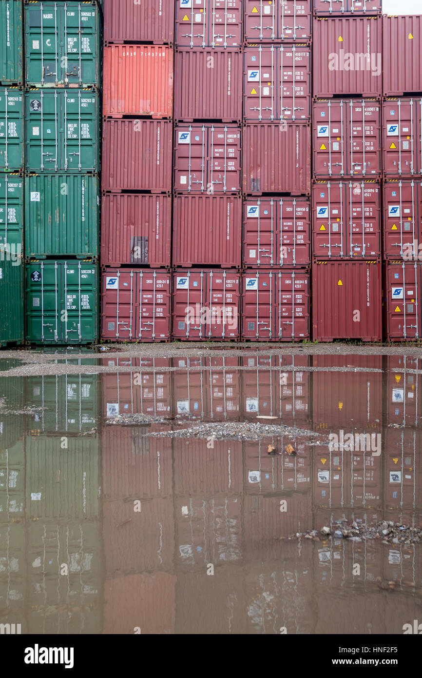 Belgium, Antwerp, port - harbour, stacked intermodal freight containers - Stock Image