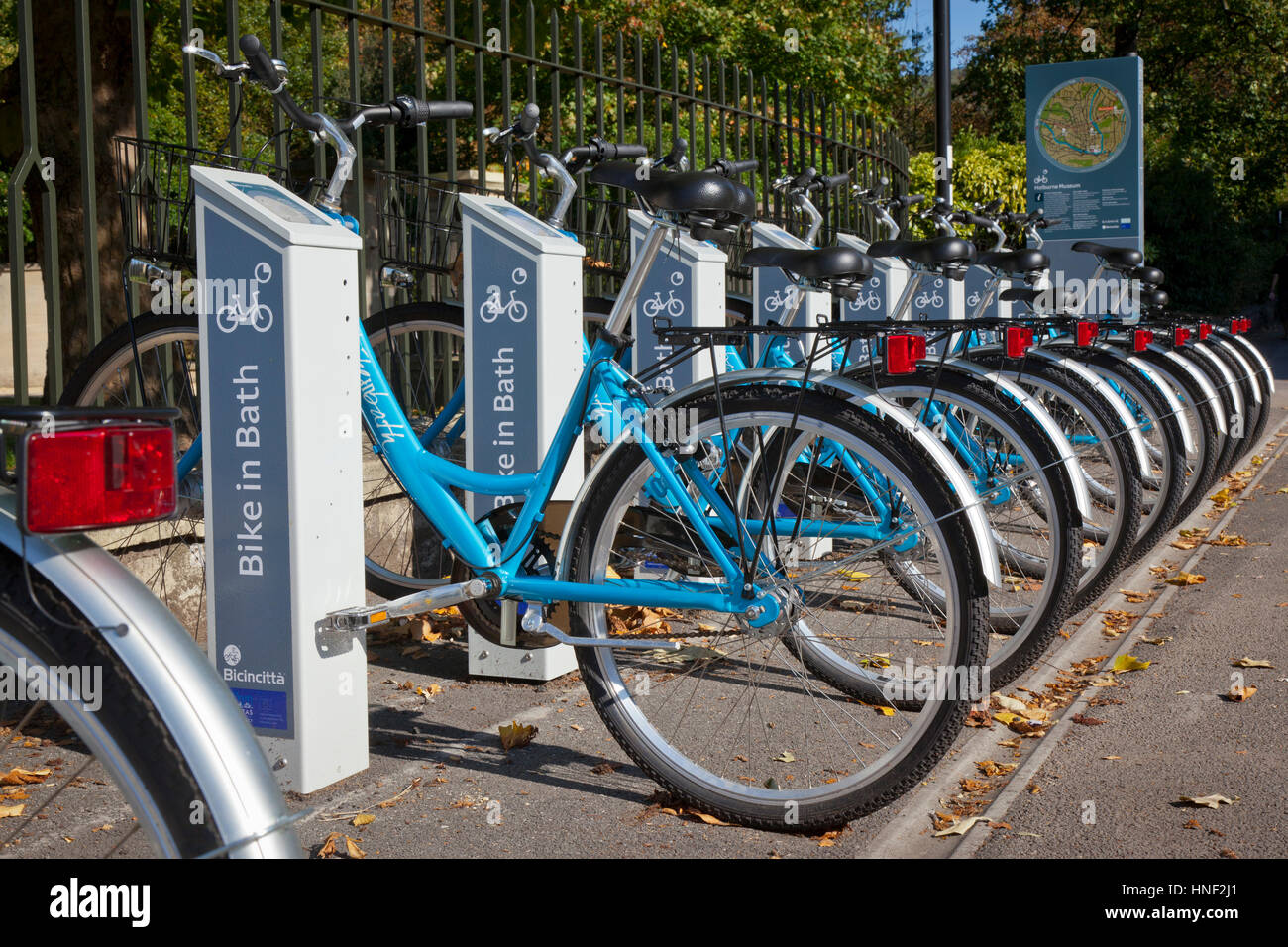 Bath, United Kingdom - October 2, 2011: A row of 'Bike in Bath' rental cycles parked at the automatic docking - Stock Image