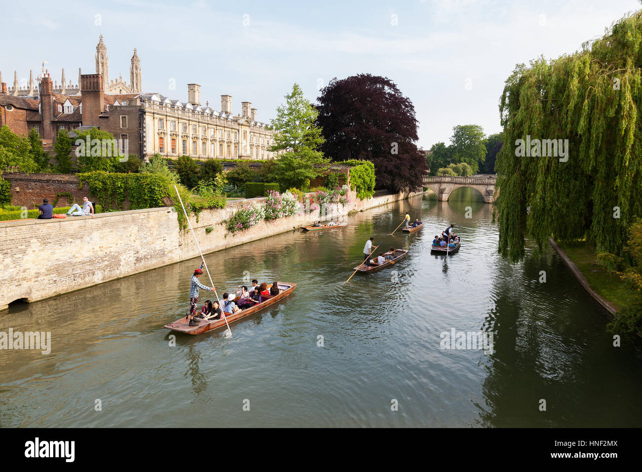 CAMBRIDGE, UK - JUNE 12, 2015 : People in punts on the river Cam  with Clare College and Clare Bridge in the background - Stock Image