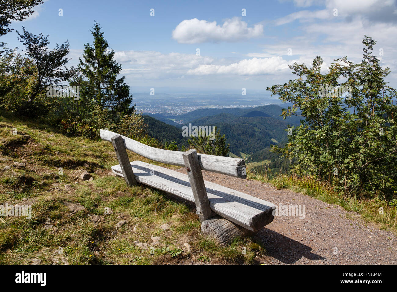 Wooden bench at a viewpoint near the summit of Schauinsland, near Freiburg, Black Forest, Germany - Stock Image