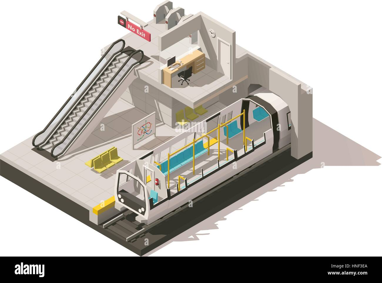 Vector isometric low poly subway station cutaway - Stock Vector