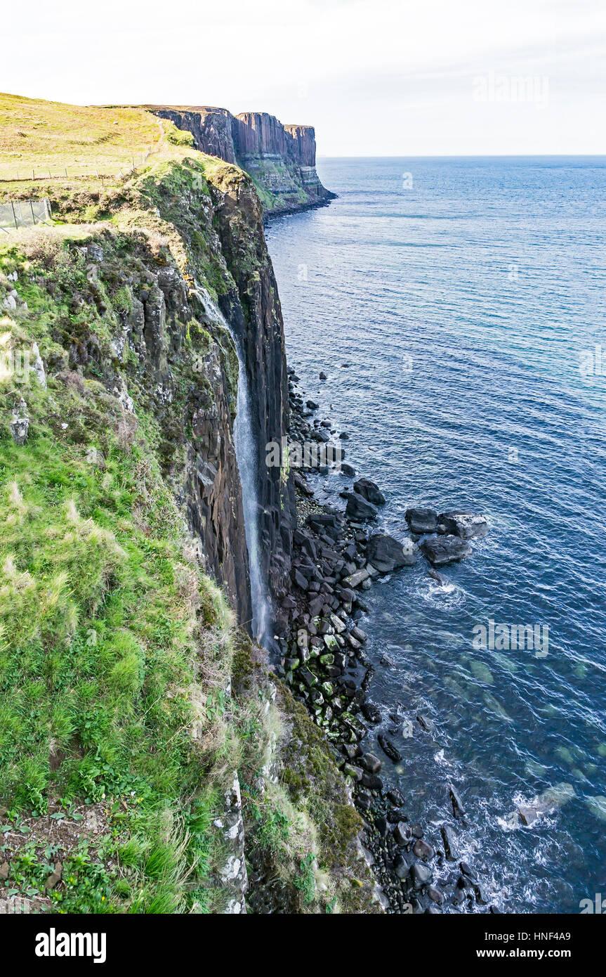 Kilt Rock sea cliff in north east Trotternish Isle of Skye Inner Hebrides Highland Scotland UK - Stock Image