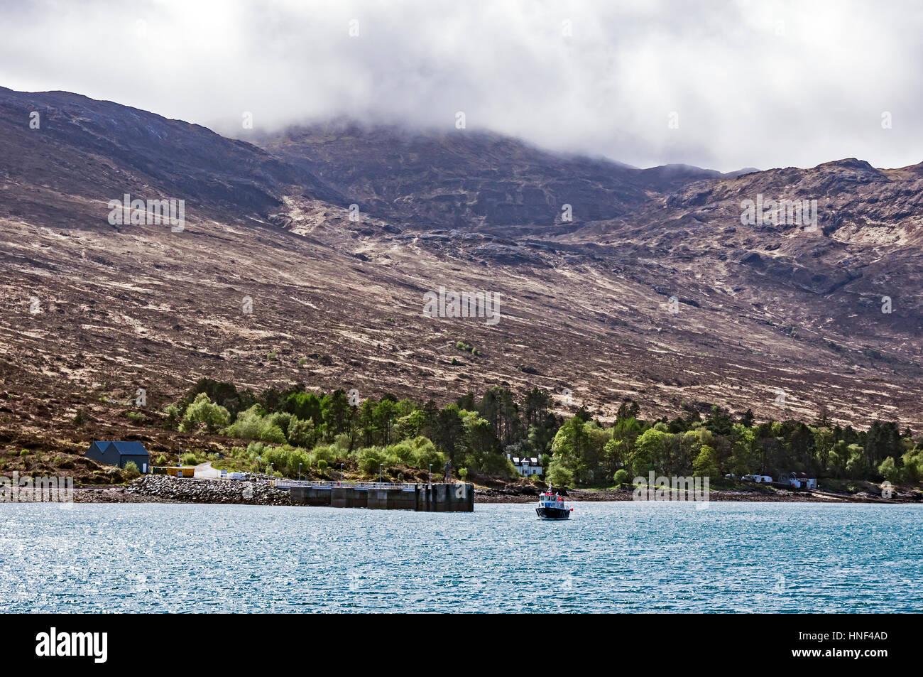 Kinloch Pier Island of Rum Small Isles Inner Hebrides West Highlands Scotland UK - Stock Image