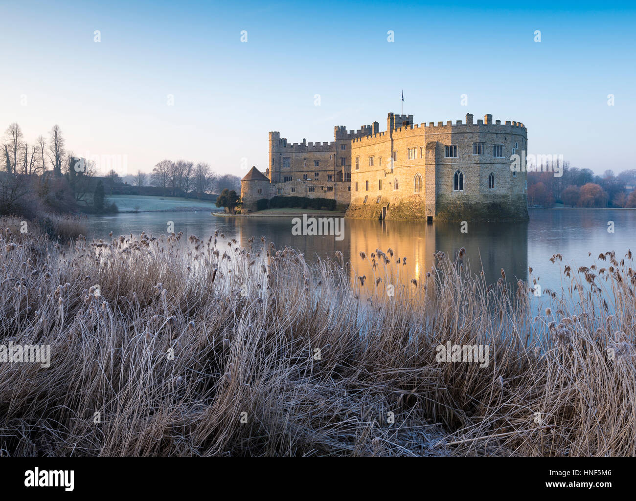 A frosty morning at Leeds Castle, Kent - Stock Image