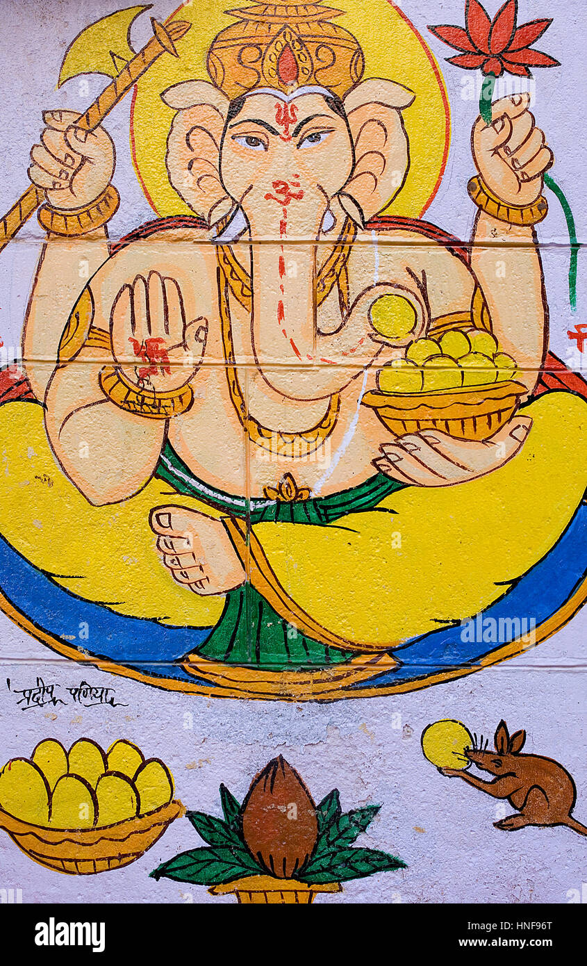 Wall painted with god Ganesh, Jaisalmer,Rajasthan, India Stock Photo