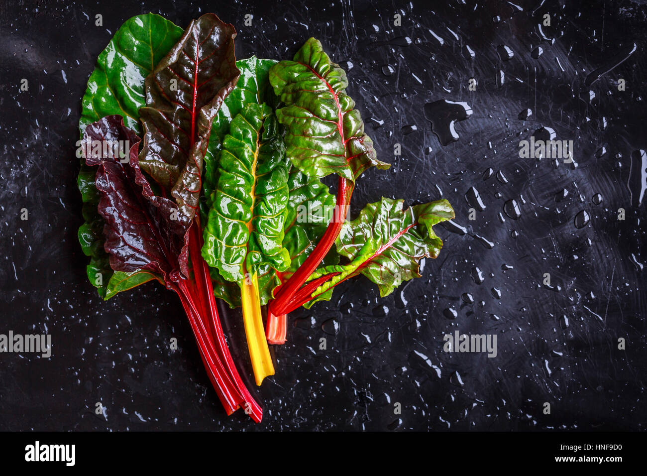 Assorted varieties of chard - Stock Image