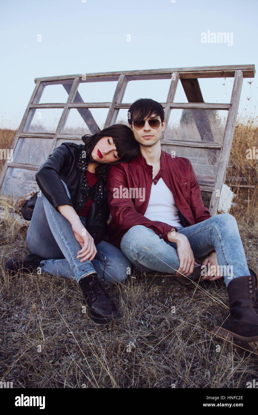 Young stylish couple with rock style Stock Photo