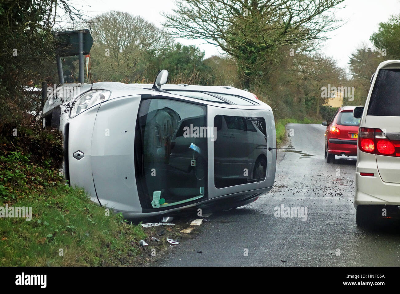 a road traffic accident - Stock Image