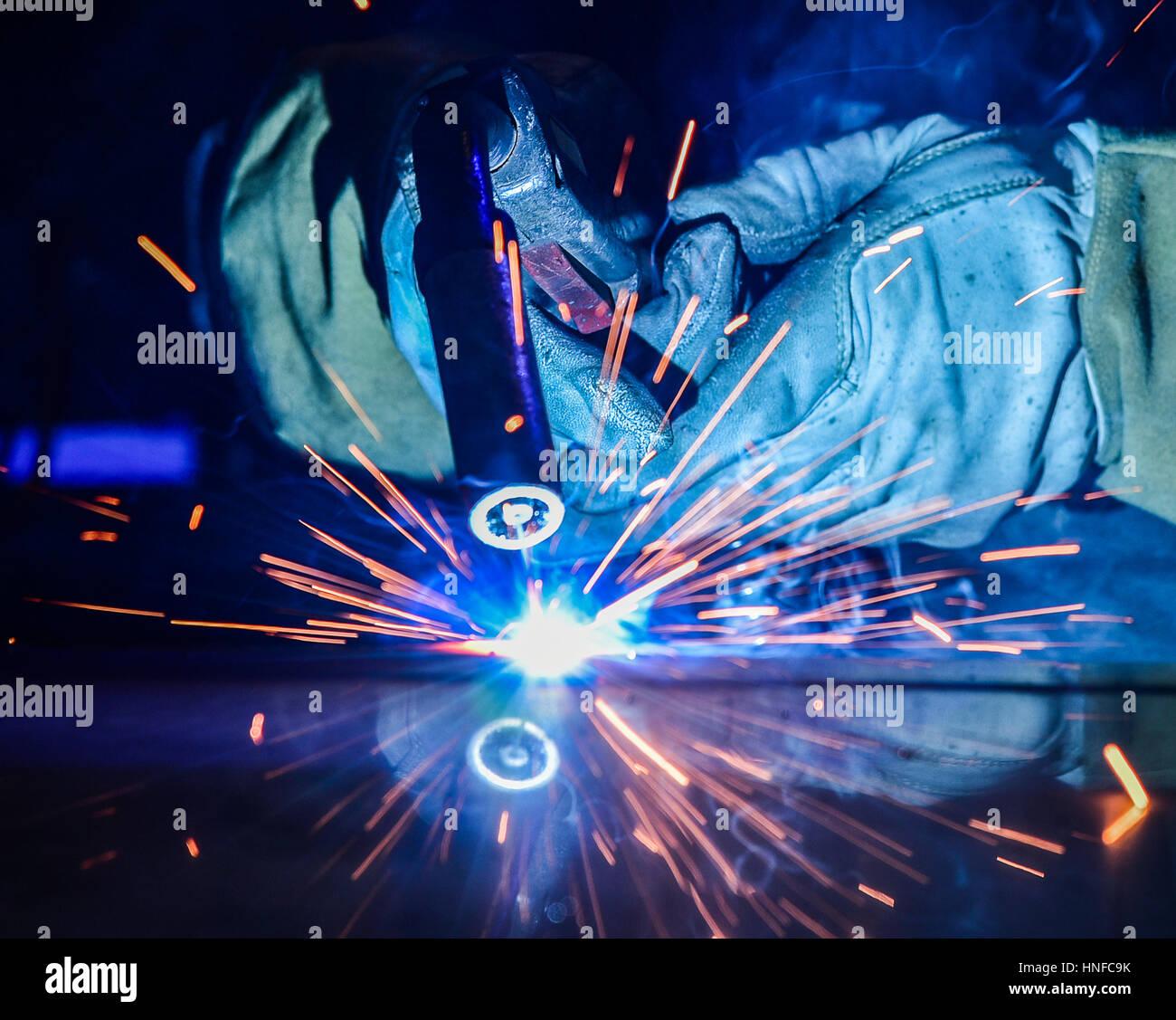 welder, craftsman, erecting technical steel Industrial steel welder in factory technical, - Stock Image