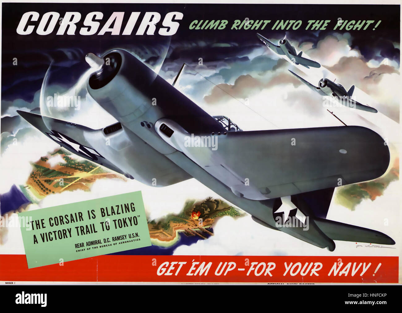 CHANCE VOUGHT F4U CORSAIR poster about 1943 - Stock Image