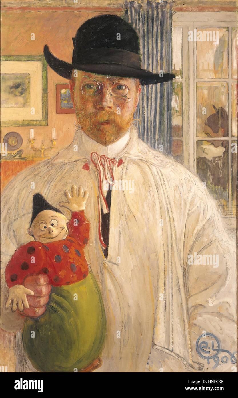 CARL LARSSON (1853-1919) Swedish artist in a self portrait in 1906 - Stock Image