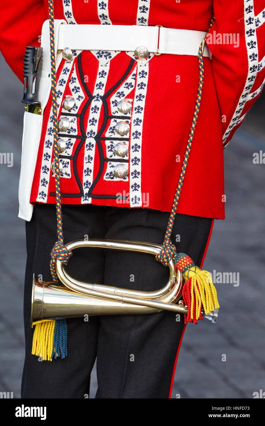 irish guards guardsman in full dress uniform with bugle Northern Ireland - Stock Image