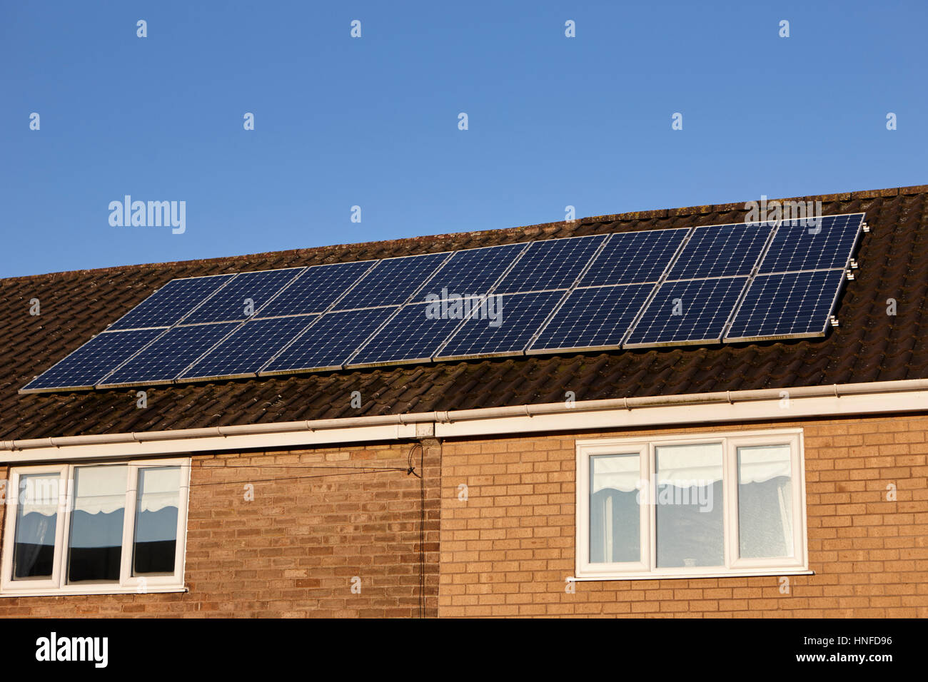 solar panels on the roof of a house in liverpool uk - Stock Image