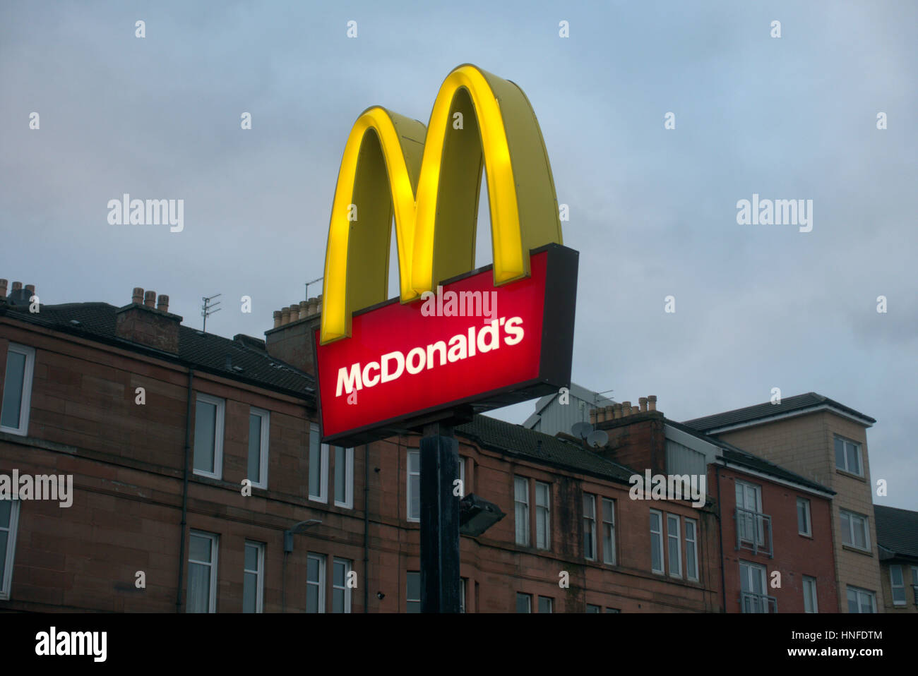 Generic Glasgow Mcdonalds Sign With Tenements West End