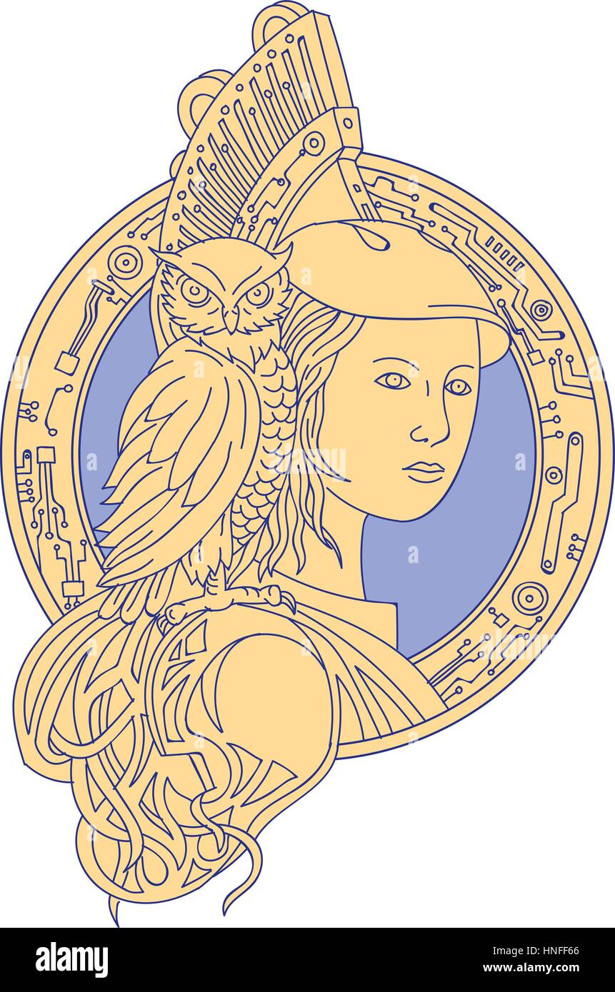 Mono line style illustration of Athena or Athene, the goddess of wisdom, craft, and war in ancient Greek religion - Stock Image