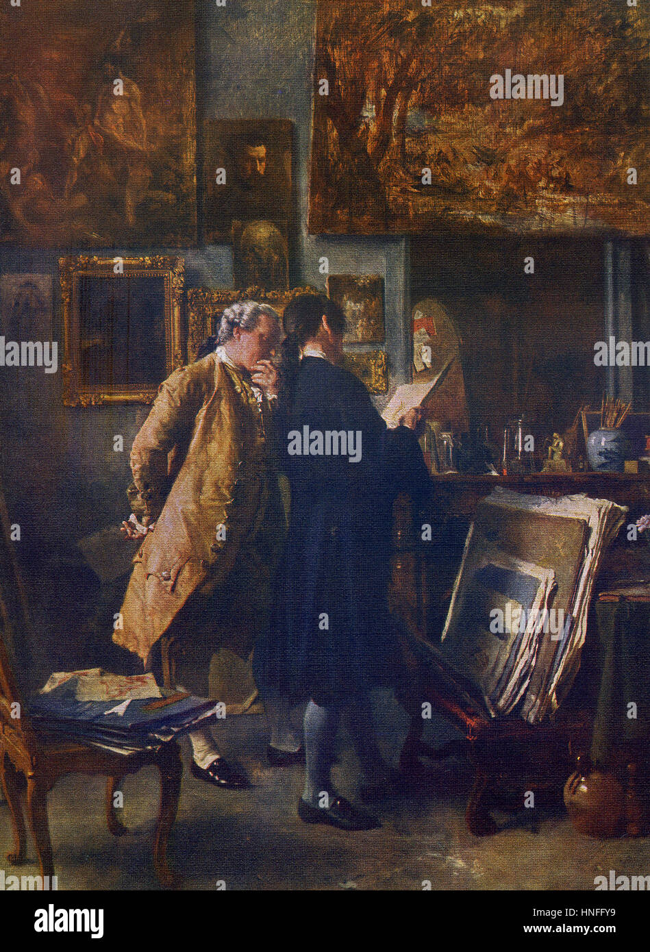 This painting, titled The Print Collector, was done by the French classicist painter Jean-Louis-Ernest Meissonier - Stock Image