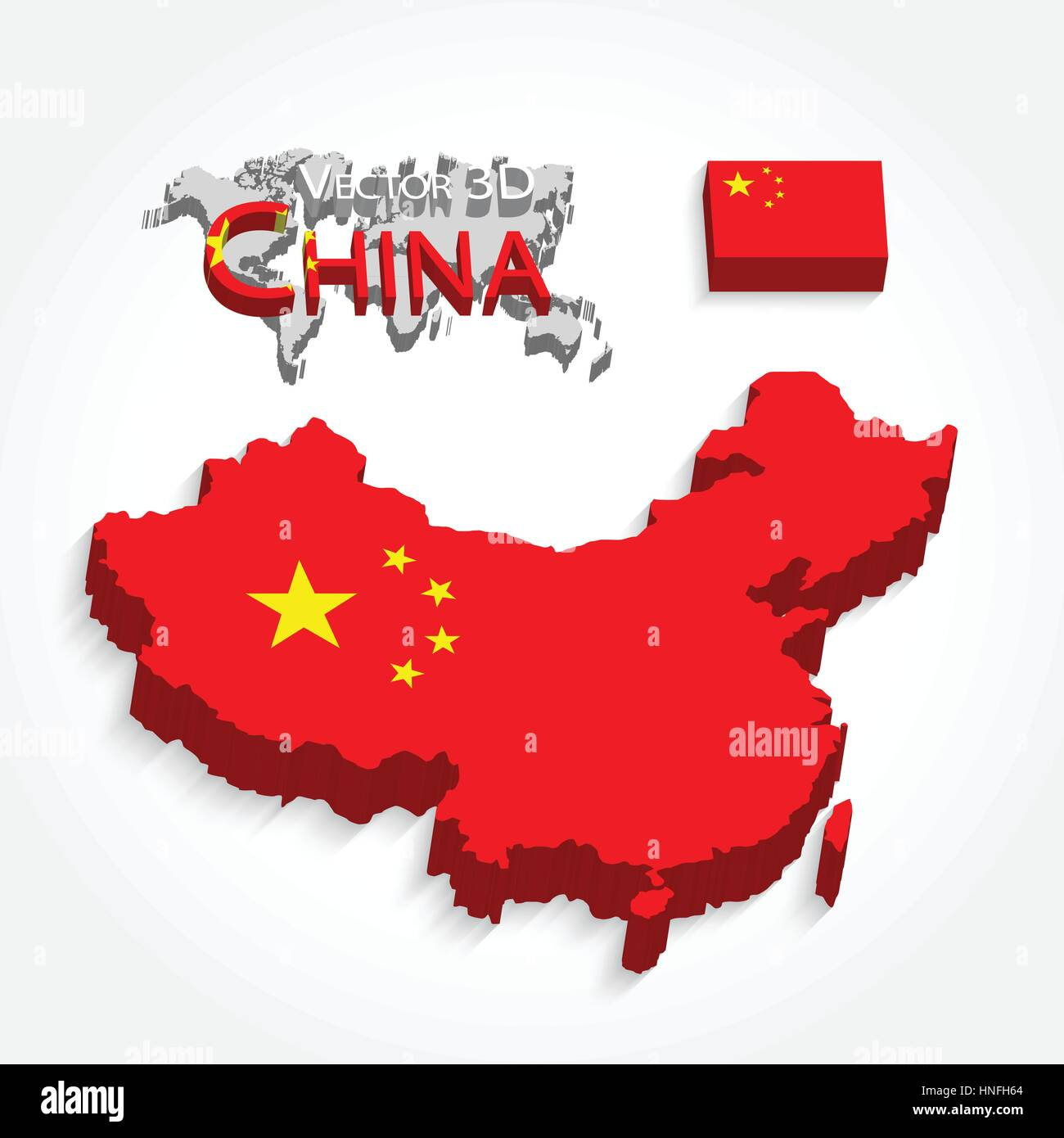 China 3D ( People 's Republic of China ) ( map and flag ) ( Transportation and tourism concept ) - Stock Image