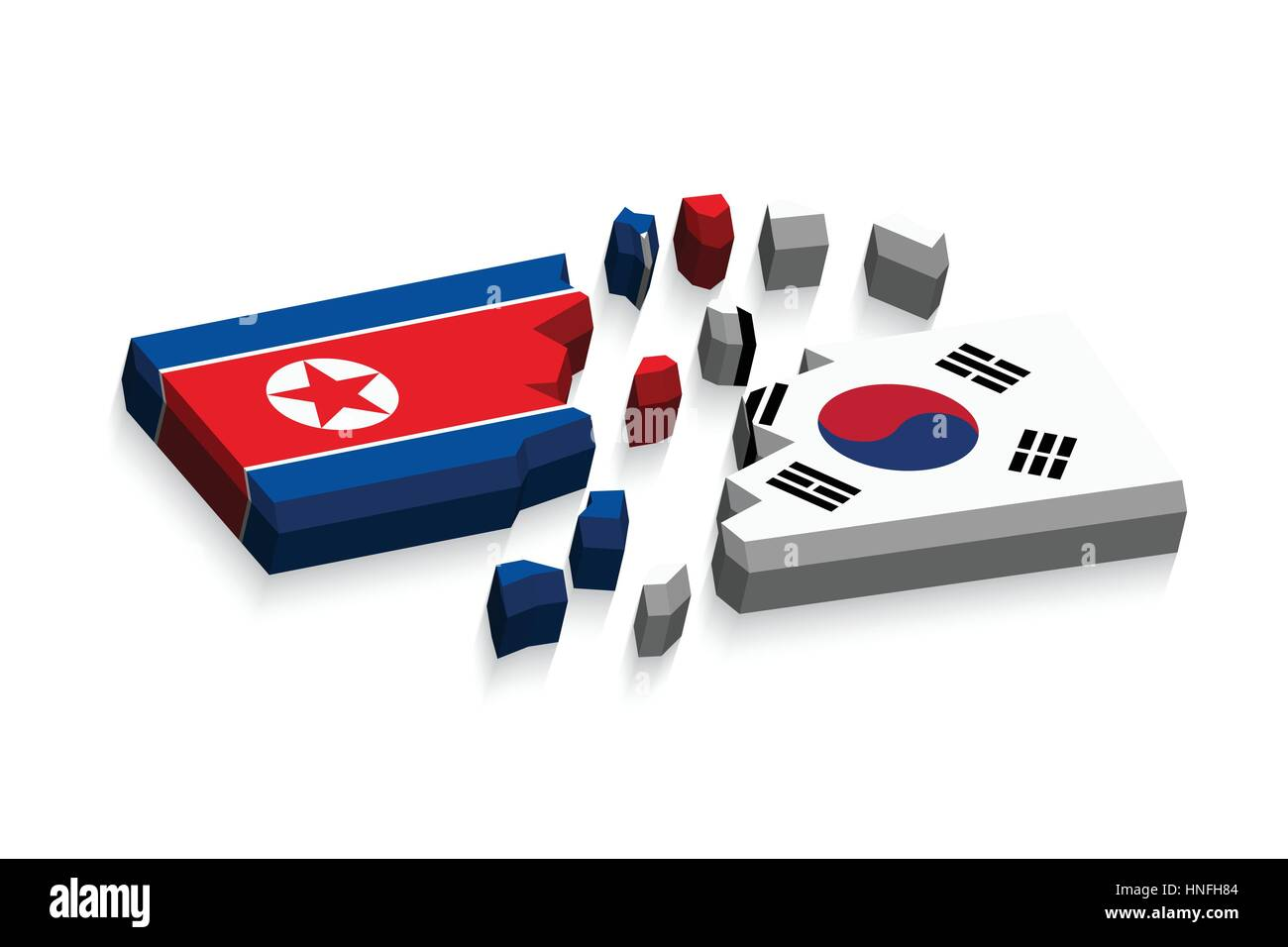 Flag of north korea and south korea 3D ( damaged flags ) ( three dimension vector ) - Stock Vector