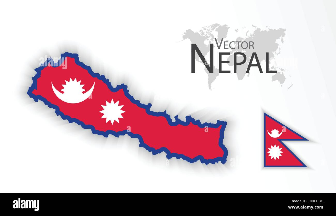 Nepal ( Federal Democratic Republic of Nepal ) ( flag and map Stock ...