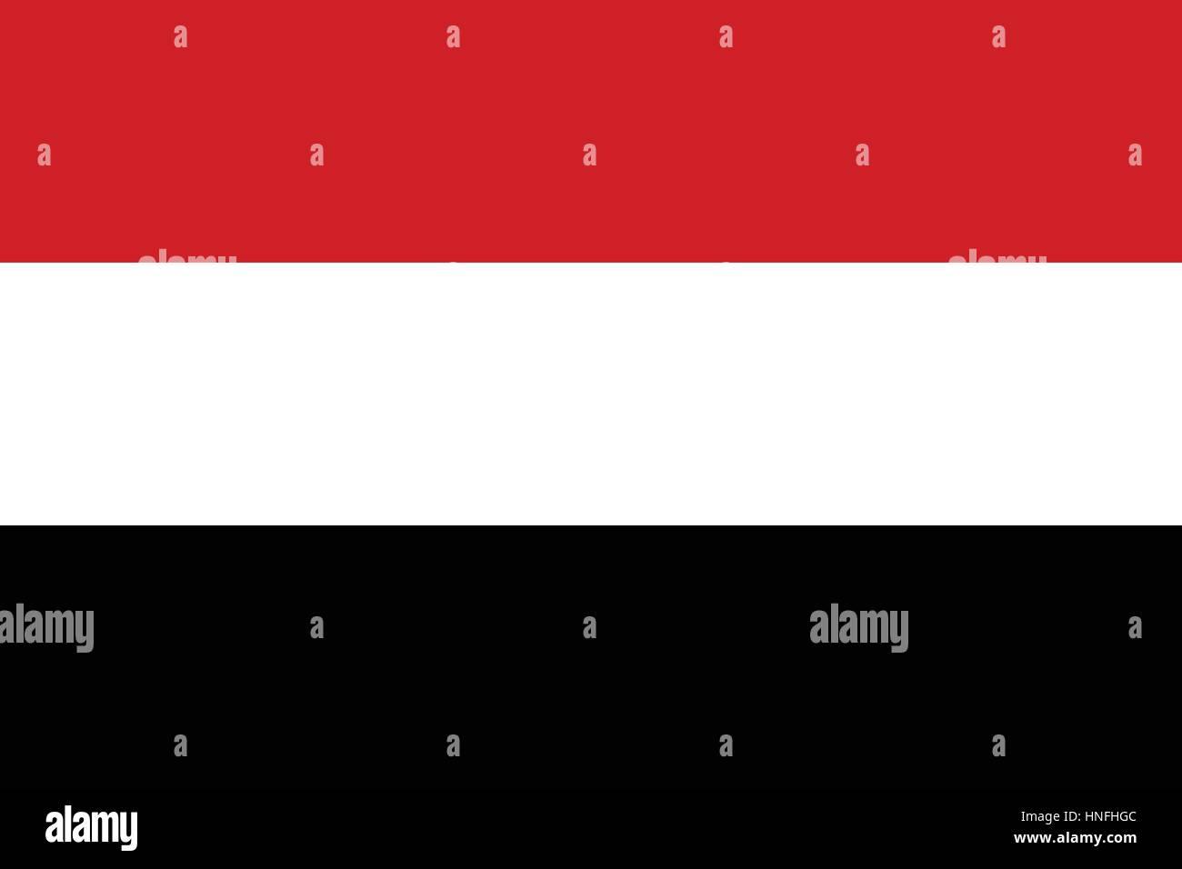Official vector flag of Yemen . Republic of Yemen . - Stock Vector