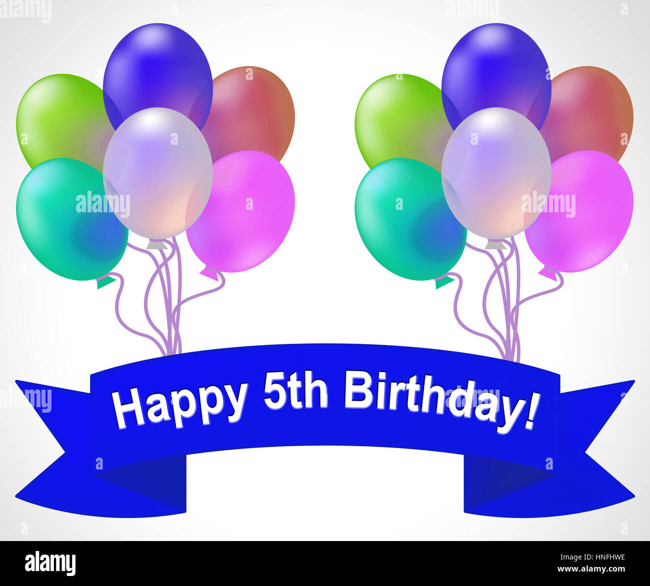 Happy Fifth Birthday Balloons Meaning 5th Party Celebration 3d Illustration