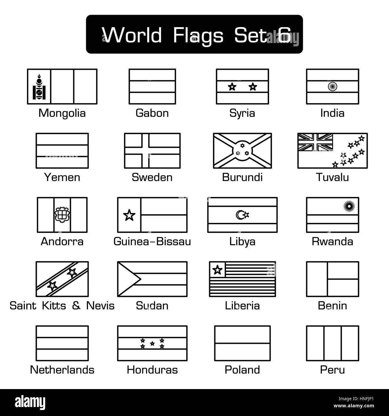 World flags set 6 . simple style and flat design . thick outline . - Stock Vector