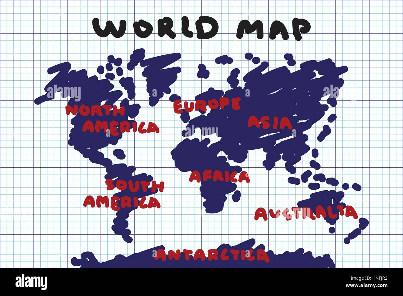 Freehand drawing style of world map and continent on grid paper freehand drawing style of world map and continent on grid paper gumiabroncs Gallery