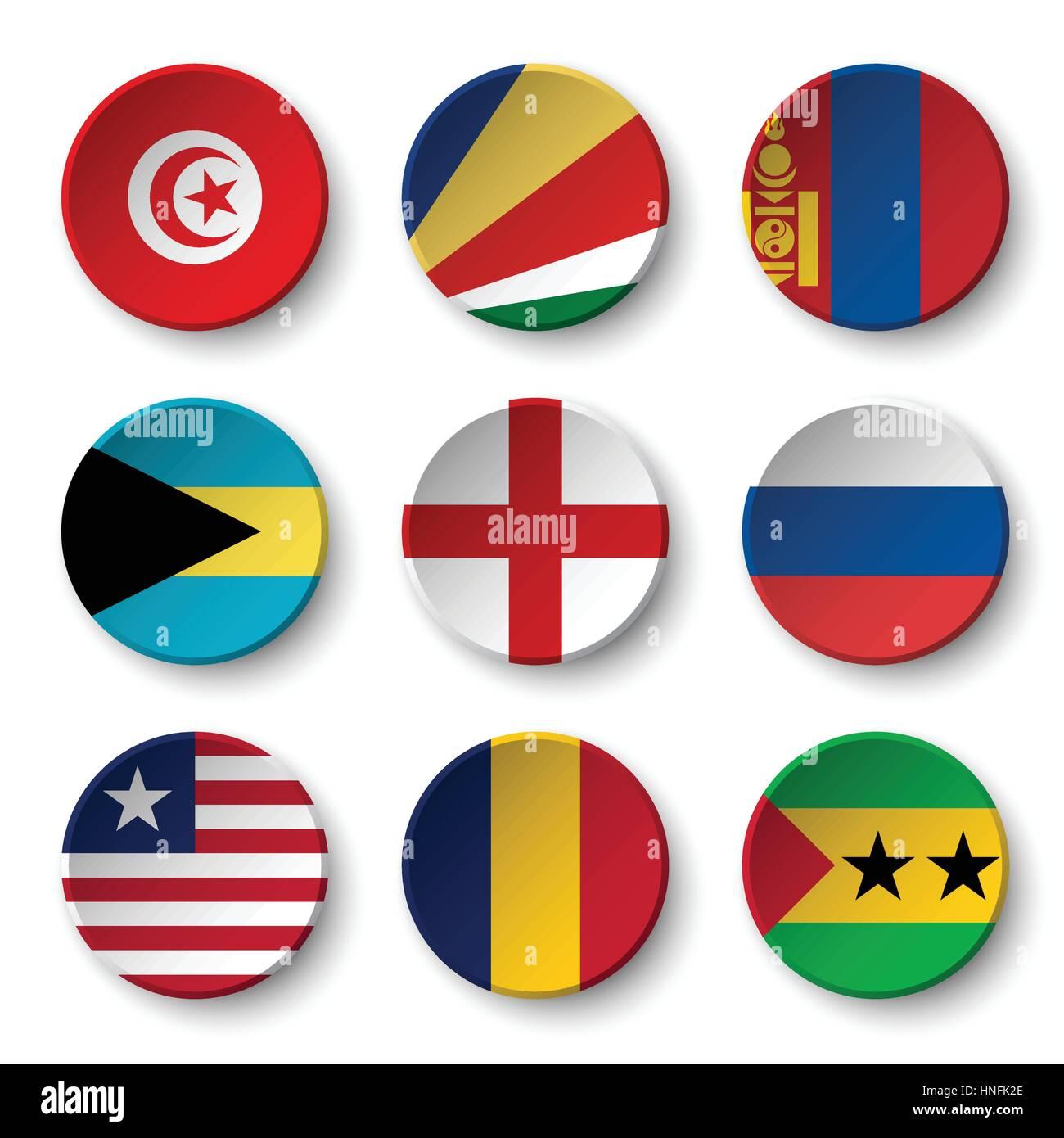 Set of world flags round badges ( Tunisia . Seychelles . Mongolia . Bahamas . England . Russia . Liberia . Chad - Stock Vector