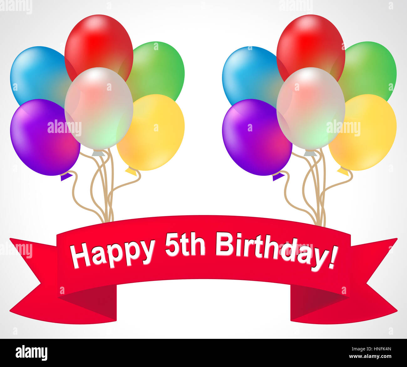 Happy Fifth Birthday Balloons Shows 5th Party Celebration 3d Illustration