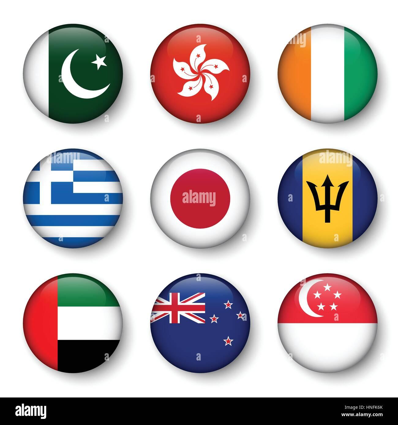 Set of world flags round badges ( Pakistan . Hong kong . Ivory Coast . Greece . Japan . Barbados . UAE . New zealand - Stock Image