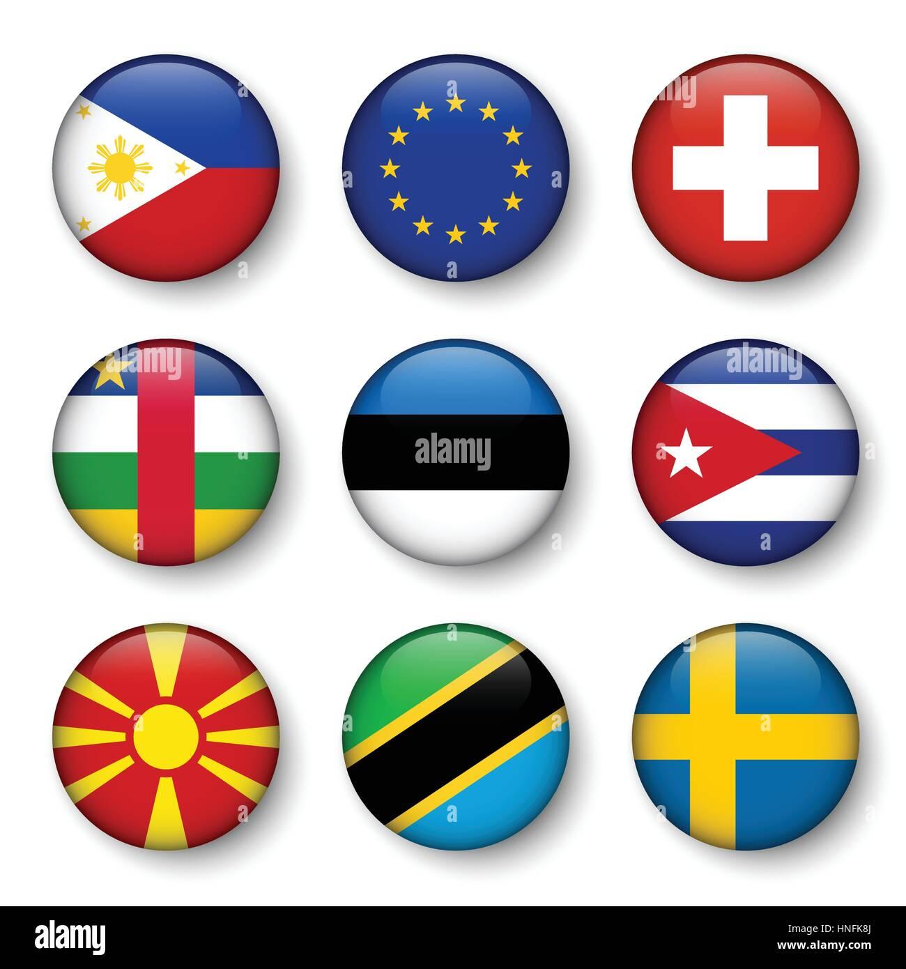 Set of world flags round badges ( Philippines . European union (EU) . Switzerland . Central African Republic . Estonia - Stock Image