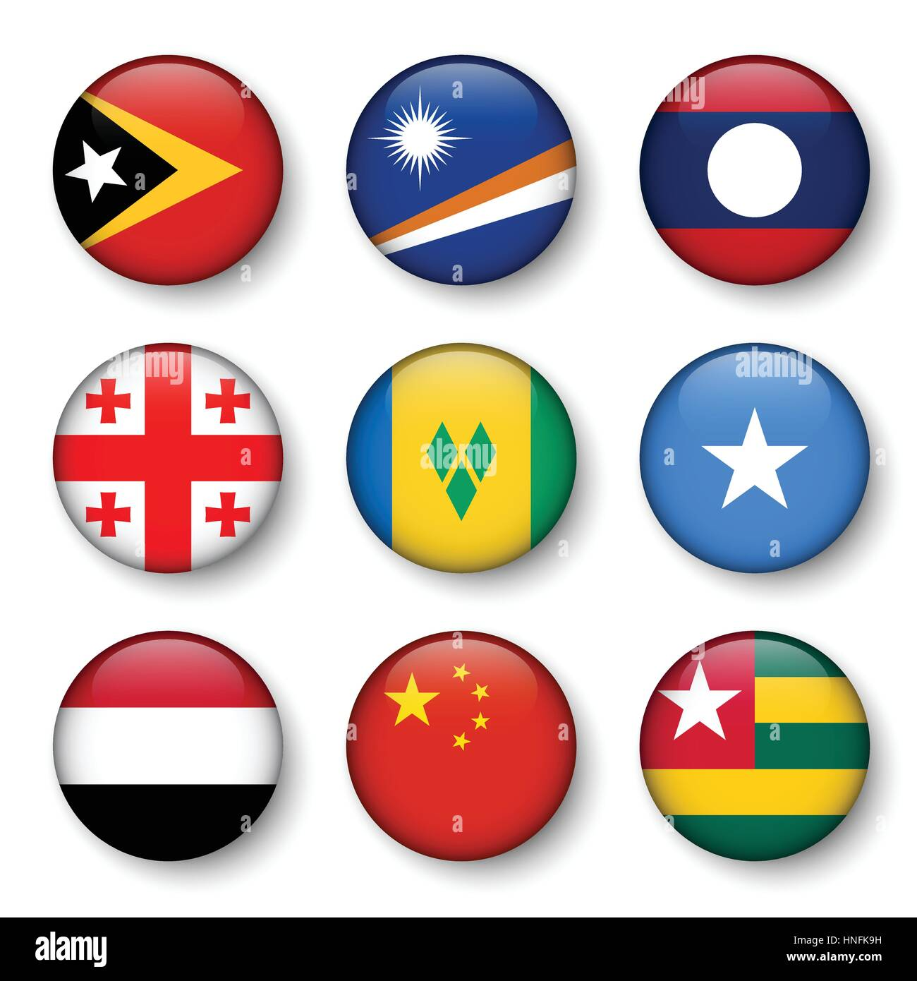 Set of world flags round badges ( East Timor . Marshall Islands . Laos . Georgia . Saint Vincent and the Grenadines - Stock Image