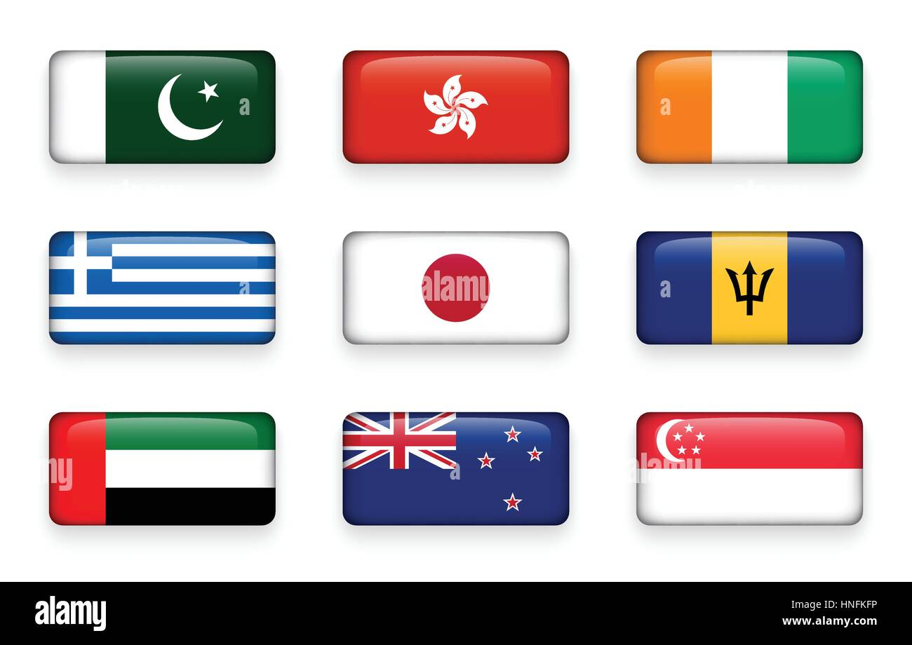 Set of world flags rectangle buttons ( Pakistan . Hong kong . Ivory Coast . Greece . Japan . Barbados . UAE . New - Stock Image