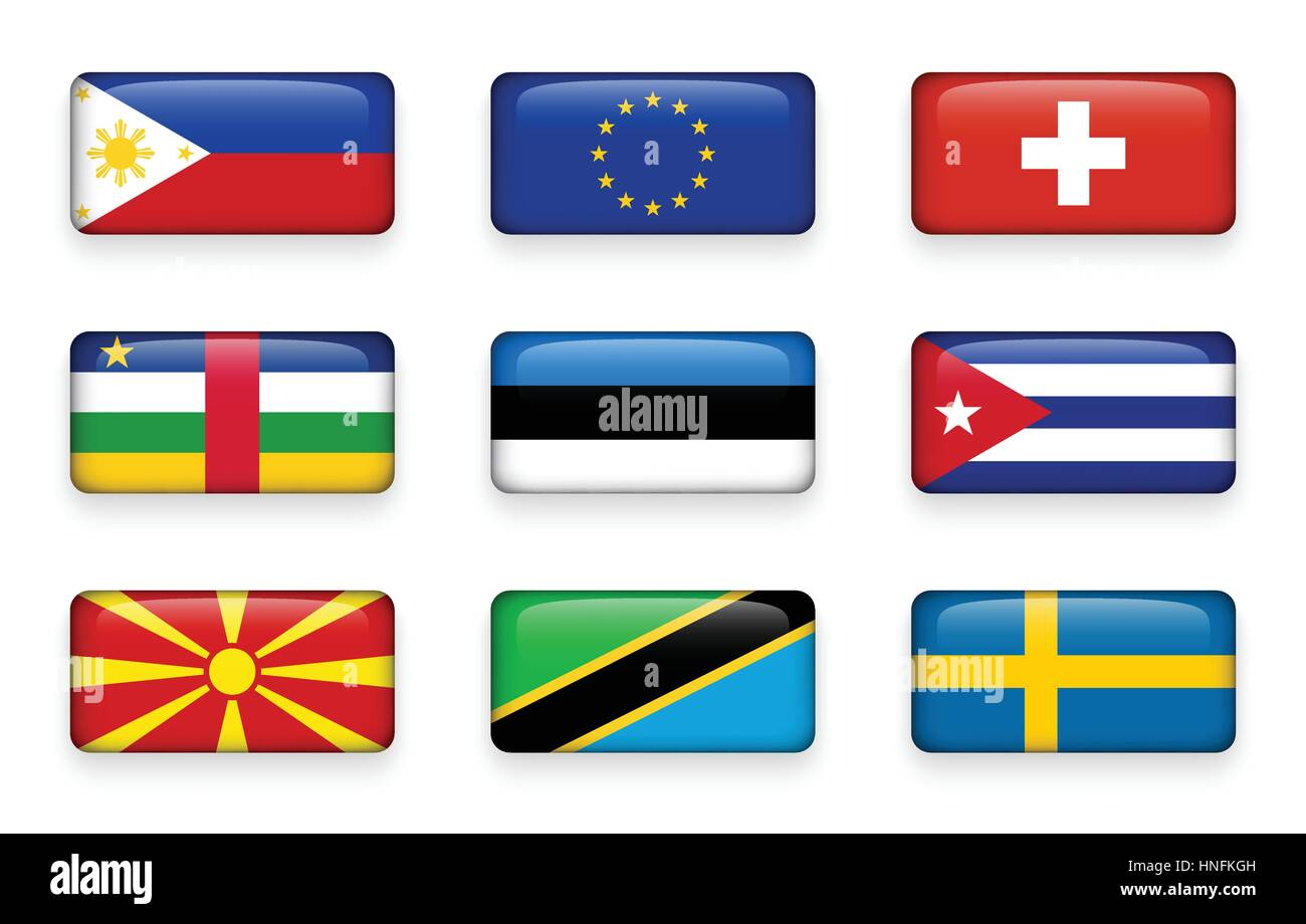Set of world flags rectangle buttons ( Philippines . European union (EU) . Switzerland . Central African Republic - Stock Image
