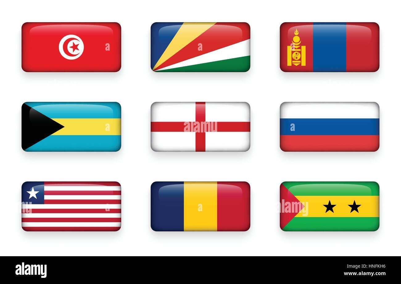Set of world flags rectangle buttons ( Tunisia . Seychelles . Mongolia . Bahamas . England . Russia . Liberia . - Stock Vector
