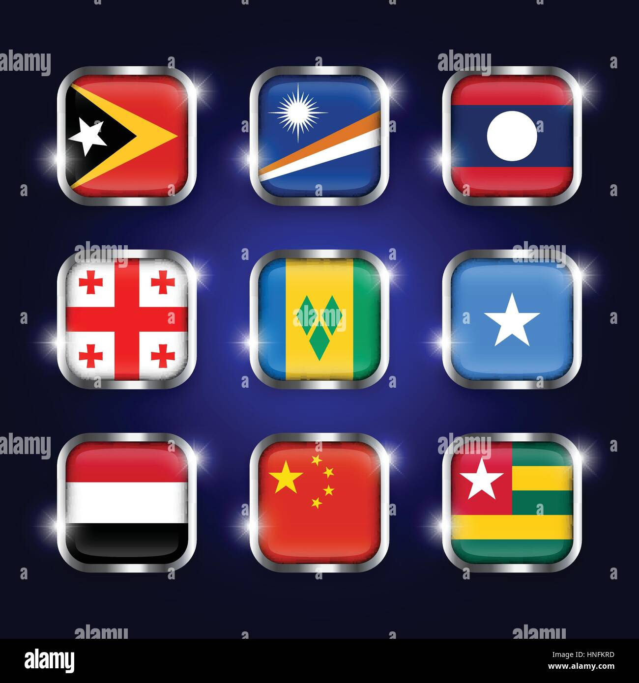 Set of world flags quadrangular glass buttons with steel border and twinkle ( East Timor . Marshall Islands . Laos - Stock Vector