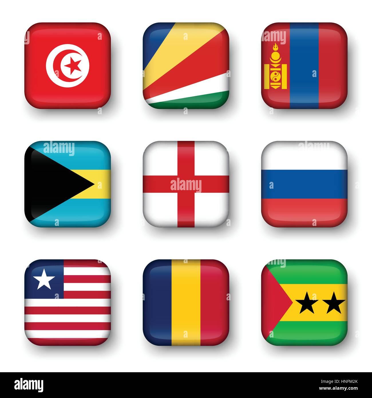 Set of world flags quadrangular badges ( Tunisia . Seychelles . Mongolia . Bahamas . England . Russia . Liberia - Stock Vector